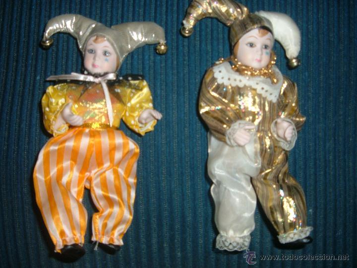 2 ARLEQUINES DE PORCELANA VINTAGE (Juguetes - Muñeca Extranjera Moderna - Porcelana)