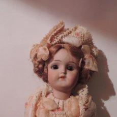 Muñecas Porcelana: IMPORTANTE MUÑECA DE PORCELANA O BISCUIT CON CUERPO DE PAPIER MACHE. Lote 47513822