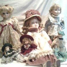 Muñecas Porcelana: LOTE 7 MUÑECAS PORCELANA DE MEDIDAS ENTRE 10 Y 45 CMS. Lote 47769721