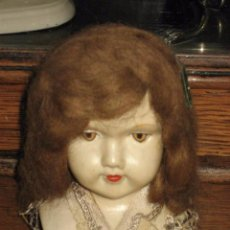 Muñecas Porcelana: ANTIGUA CABEZA DE MUÑECA EN PORCELANA O BISCUIT Y PELO DE MOHAIR - CAMAFEO EN CUELLO. Lote 49912520