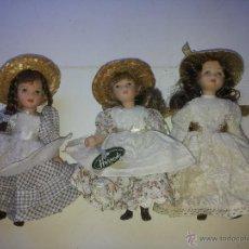Muñecas Porcelana: 3 MUÑECAS ANTIGUAS DE CERAMICA HARRODS. Lote 50748501