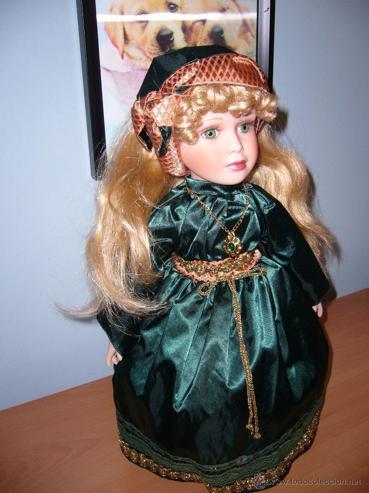 Muñecas Porcelana: MUÑECA PORCELANA-COLECCIÓN-LOTE-VESTIDO DE RASO VERDE-PELO LARGO-COMUNIÓN-NAVIDAD-PRECIOSA-45 CM - Foto 2 - 54061404