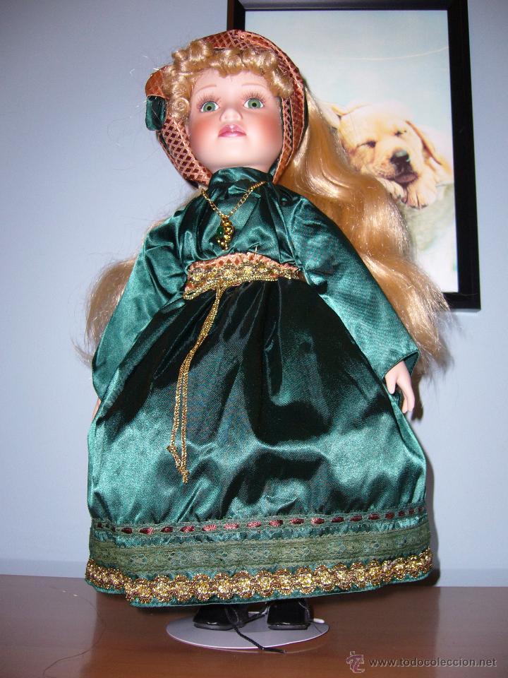 Muñecas Porcelana: MUÑECA PORCELANA-COLECCIÓN-LOTE-VESTIDO DE RASO VERDE-PELO LARGO-COMUNIÓN-NAVIDAD-PRECIOSA-45 CM - Foto 4 - 54061404