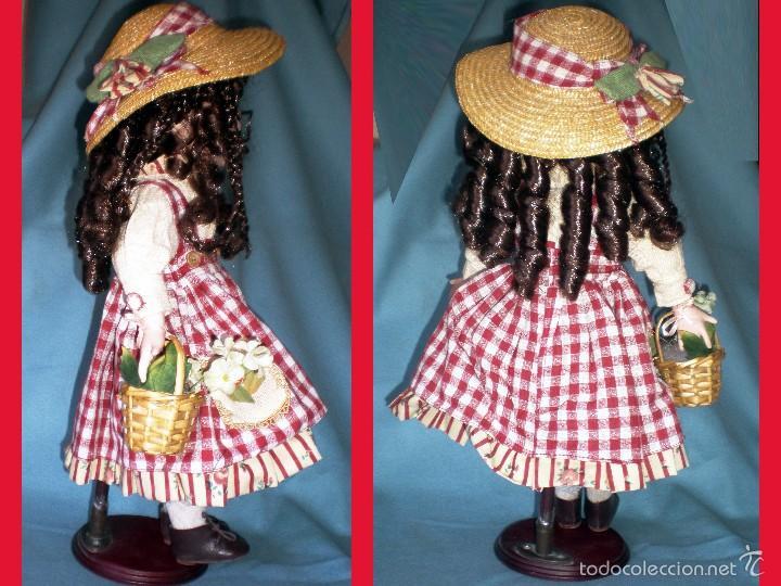 Muñecas Porcelana: PRECIOSA MUÑECA DE PORCELANA, VESTIDO DE CAMPO, SOMBRERO DE PAJA Y CESTO CON FRUTAS, PESTAÑAS.46 cm. - Foto 3 - 56011770