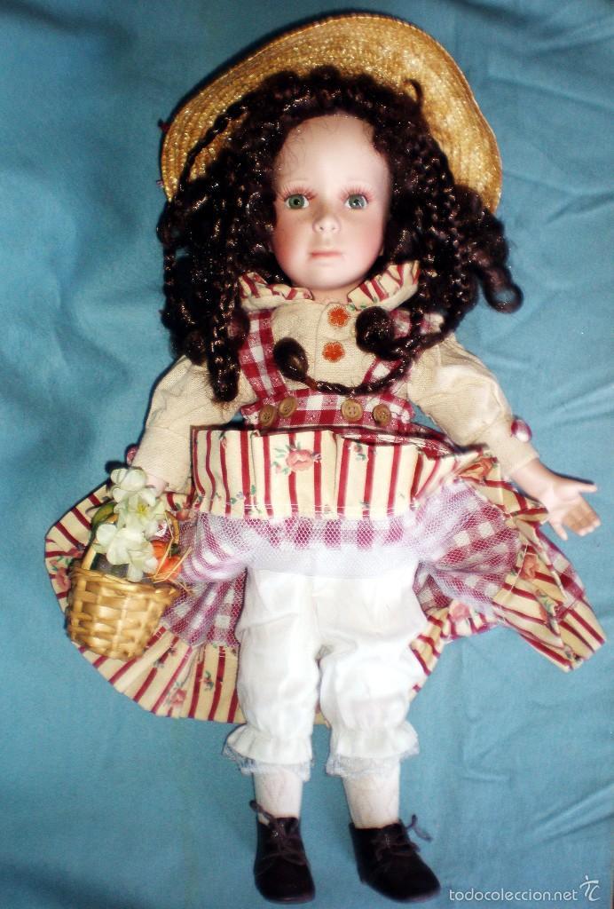 Muñecas Porcelana: PRECIOSA MUÑECA DE PORCELANA, VESTIDO DE CAMPO, SOMBRERO DE PAJA Y CESTO CON FRUTAS, PESTAÑAS.46 cm. - Foto 4 - 56011770
