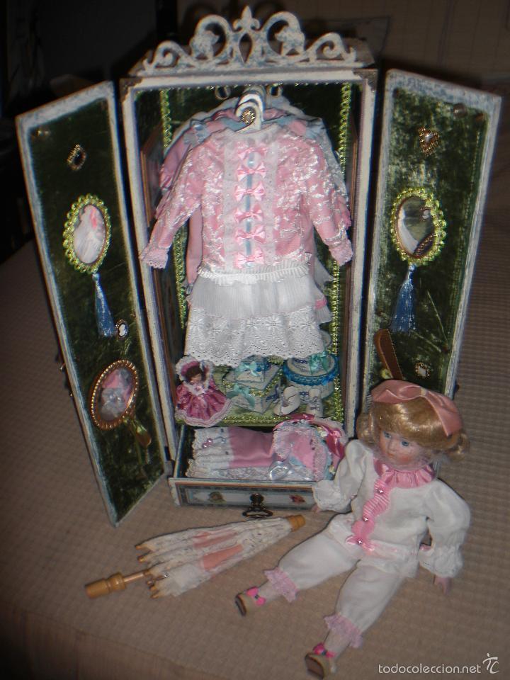 Muñecas Porcelana: ARMARIO MUÑECA DE PORCELANA, MUÑECA ANTIGUA, ARMARIO DE JUGUETE, JUGUETE CLASICO - Foto 2 - 56318065