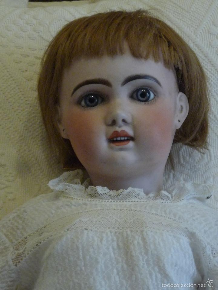 Muñecas Porcelana: Enorme muñeca antigua JUNEAU (83 cm)con cabeza de porcelana y cuerpo carton 1890 a 1900 - Foto 2 - 56731776