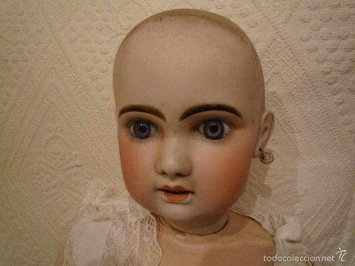 Muñecas Porcelana: Enorme muñeca antigua JUNEAU (83 cm)con cabeza de porcelana y cuerpo carton 1890 a 1900 - Foto 4 - 56731776