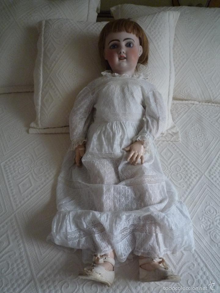 Muñecas Porcelana: Enorme muñeca antigua JUNEAU (83 cm)con cabeza de porcelana y cuerpo carton 1890 a 1900 - Foto 9 - 56731776