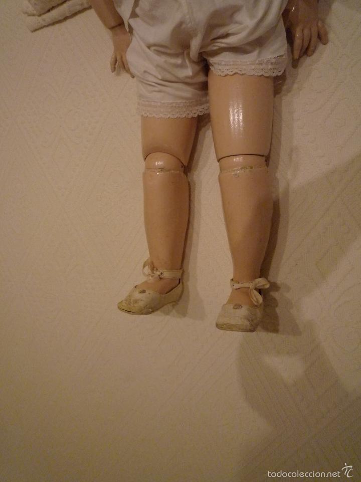 Muñecas Porcelana: Enorme muñeca antigua JUNEAU (83 cm)con cabeza de porcelana y cuerpo carton 1890 a 1900 - Foto 10 - 56731776