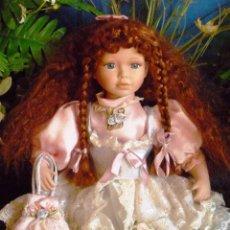 Muñecas Porcelana: MUÑECA DE PORCELANA CON PRECIOSO PELO COBRIZO Ó PELIRROJA Y OJOS AZULES (40 CM) NUMERADA. Lote 61543292