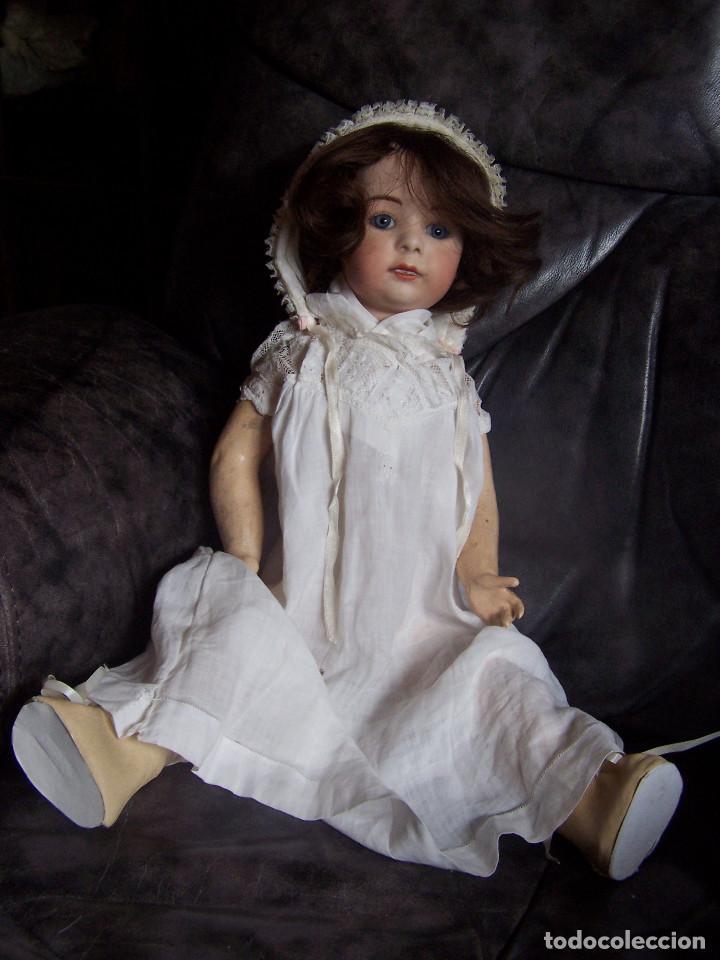 Muñecas Porcelana: Muñeco, cabeza de porcelana de los años 80 y cuerpo de cartón. Altura 47 cm.Ojos de cristal azules - Foto 2 - 76023371