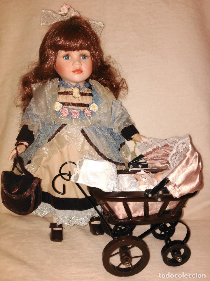 Muñecas Porcelana: Muñeca de porcelana coleccion Leonardo con cochecito antiguo y bebe. - Foto 6 - 80162265