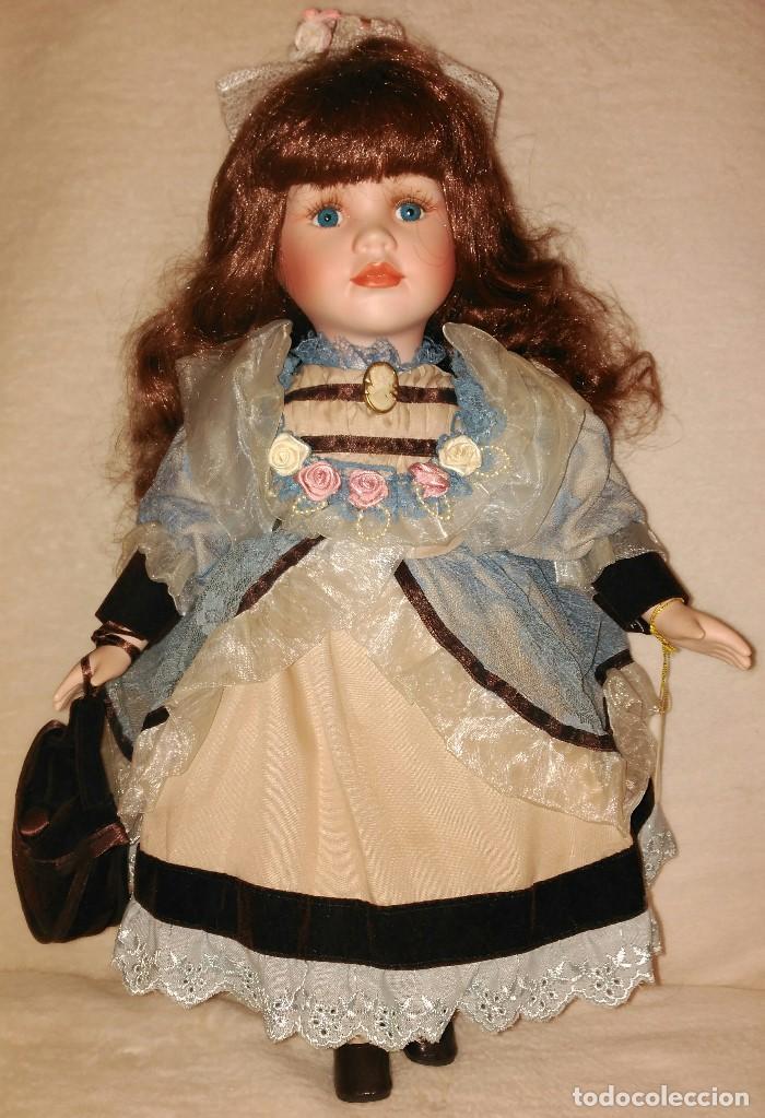 Muñecas Porcelana: Muñeca de porcelana coleccion Leonardo con cochecito antiguo y bebe. - Foto 8 - 80162265