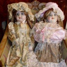 Muñecas Porcelana: MUÑECAS DE PORCELANA SELLO RJ. OJOS CRISTALES FIJOS. CUERPO CARTÓN PIEDRA. Lote 86050108