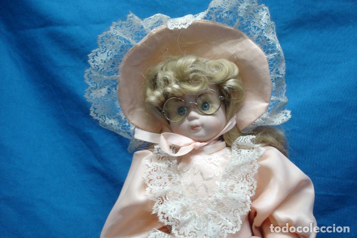 Muñecas Porcelana: MUÑECA DE PORCELANA DE 44 cm. CON UN PRECIOSO VESTIDO ROSA, SOMBRERO Y SOMBRILLA A JUEGO + SOPORTE - Foto 8 - 91340010