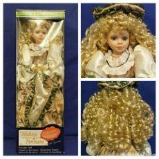 Muñecas Porcelana: MUÑECA DE PORCELANA NUEVA EN CAJA,CON SOPORTE.MIDE 50 CM. Lote 105623095