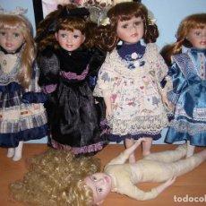 Muñecas Porcelana: 5 MUÑECAS-LOTE-MUÑECA PORCELANA-DE MARCA-PRECIOSAS-LOTE-COLECCIÓN-PIEZAS-LIMPIAS-OFERTA LIQUIDACIÓN. Lote 108134211