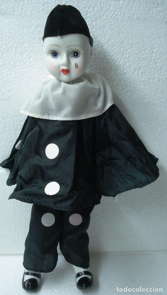 Muñecas Porcelana: Arlequín Pierrot de Porcelana y cuerpo de Trapo. Longitud 30 cm, Nuevo en perfecto estado. - Foto 2 - 112455043