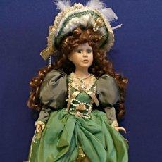 Porzellan-Puppen - Muñeca de Porcelana Dama con vestido atornasolado de 46 cm - 114834227