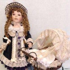 Muñecas Porcelana: MUÑECA DE 64 CM CON COCHE DE BEBE Y BEBE DE 30 CM,ES PORCELANA DE COLECCION.. Lote 115254747