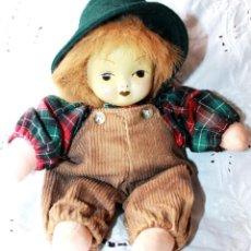 Muñecas Porcelana: MUÑECO DE TRAPO CON CARA PORCELANA-VINTAGE. Lote 115340863