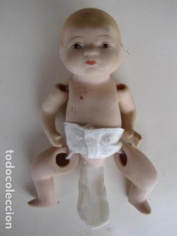 Muñecas Porcelana: Bebe articulado de porcelana. Pañal - Foto 2 - 116907663