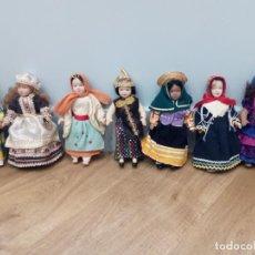 Muñecas Porcelana: 7 MUÑECAS PORCELANA ARTICULADAS TRAJES TIPICOS REGIONES. Lote 131614486