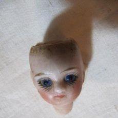 Muñecas Porcelana: ANTIGUA Y PRECIOSA CABEZA DE PORCELANA CON OJOS DE CRISTAL PARA MUÑECA. Lote 136565122