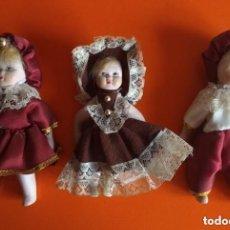 Muñecas Porcelana: 3 MUÑECAS PORCELANA 14CM AÑOS 80. Lote 138540918