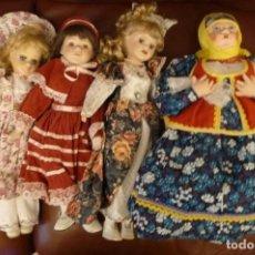 Muñecas Porcelana: TRES MUÑECAS PORCELANA, BONITOS ACABADOS ROPA Y PELO, Y UNA LENCY RUSA, 45 CMS. APROX.. Lote 152078382