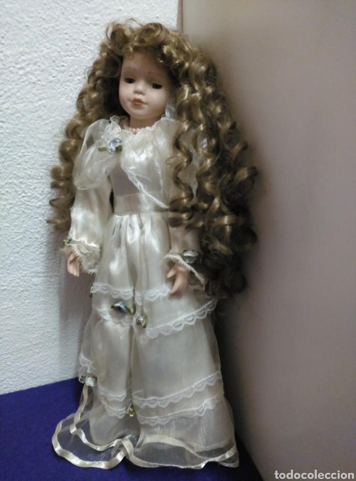 Muñecas Porcelana: MUÑECA PORCELANA 43CM OJOS CRISTAL RIZOS - Foto 3 - 154441677
