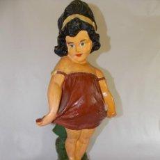 Muñecas Porcelana: MUÑECA ESCULTURA FIGURA TERRACOTA YESO AÑOS 30-40 CHICA CON VESTIDO TIPO AÑOS 20. Lote 155377774
