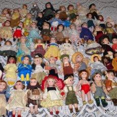 Muñecas Porcelana: MEGA COLECCIÓN GRAN LOTE DE 63 MUÑECAS , LA MAYORÍA DE PORCELANA CON OJOS DE CRISTAL, DISNEY, ETC. Lote 155892658