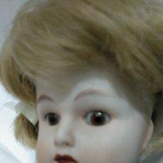 Muñecas Porcelana: MUÑECA DE PORCELANA ALEMANA MARCADA CUERPO DE TELA. Lote 155995990