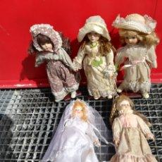 Muñecas Porcelana: LOTE 5 MUÑECAS DE PORCELANA. Lote 162293256