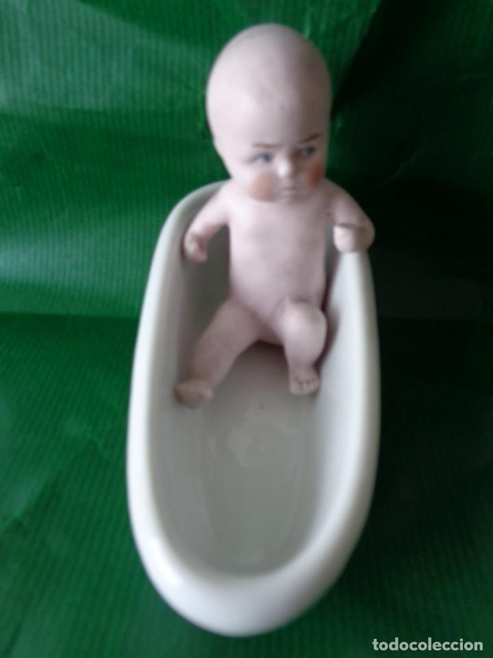Muñecas Porcelana: Conjunto de 5 piezas, 4 bebes y 1 bañera. Biscuit y porcelana. Numeradas. principios del s. XX - Foto 3 - 168797416