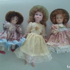 Muñecas Porcelana: 3 MUÑECAS DE PORCELANA MATE ANTIGUAS. Lote 175366493