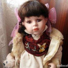 Muñecas Porcelana: MUÑECA DE PORCELANA 32 CM CON OSITO DE PELUCHE (ALEMANIA) MARCA MAGOMORA. Lote 181153033