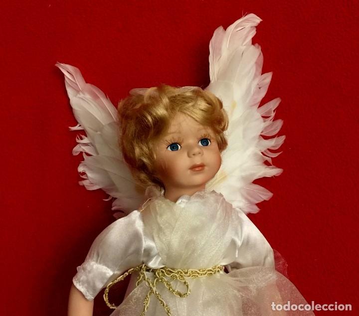 Muñecas Porcelana: ANGEL DE PORCELANA ALEMANA CON ALAS DE PLUMAS NATURALES. - Foto 2 - 182971890