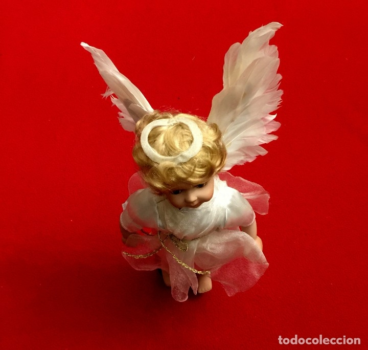 Muñecas Porcelana: ANGEL DE PORCELANA ALEMANA CON ALAS DE PLUMAS NATURALES. - Foto 3 - 182971890