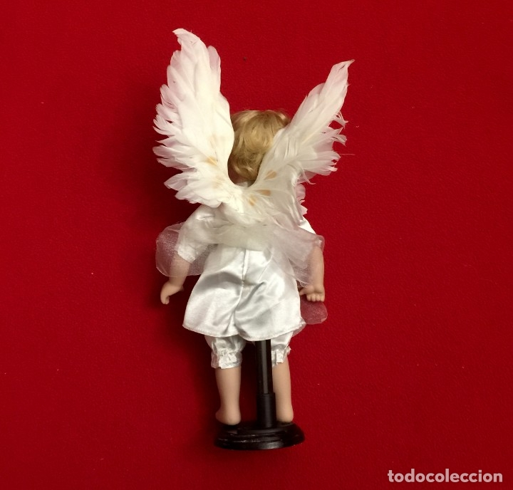 Muñecas Porcelana: ANGEL DE PORCELANA ALEMANA CON ALAS DE PLUMAS NATURALES. - Foto 4 - 182971890