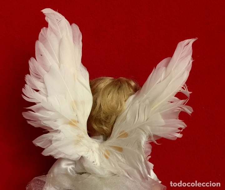 Muñecas Porcelana: ANGEL DE PORCELANA ALEMANA CON ALAS DE PLUMAS NATURALES. - Foto 5 - 182971890