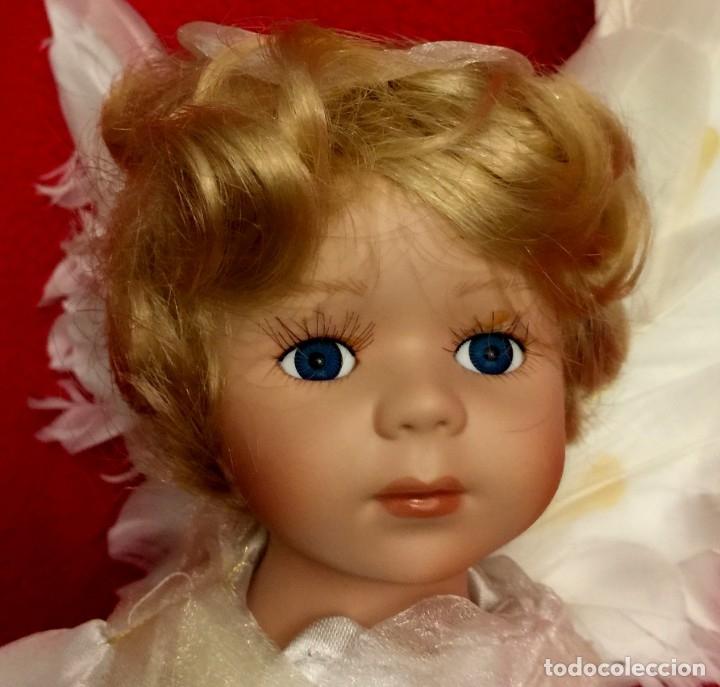 Muñecas Porcelana: ANGEL DE PORCELANA ALEMANA CON ALAS DE PLUMAS NATURALES. - Foto 6 - 182971890