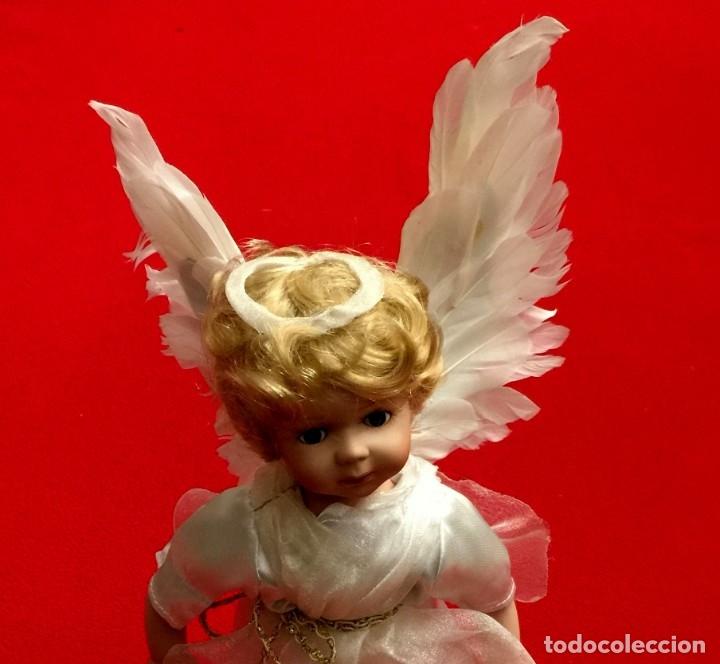 Muñecas Porcelana: ANGEL DE PORCELANA ALEMANA CON ALAS DE PLUMAS NATURALES. - Foto 7 - 182971890