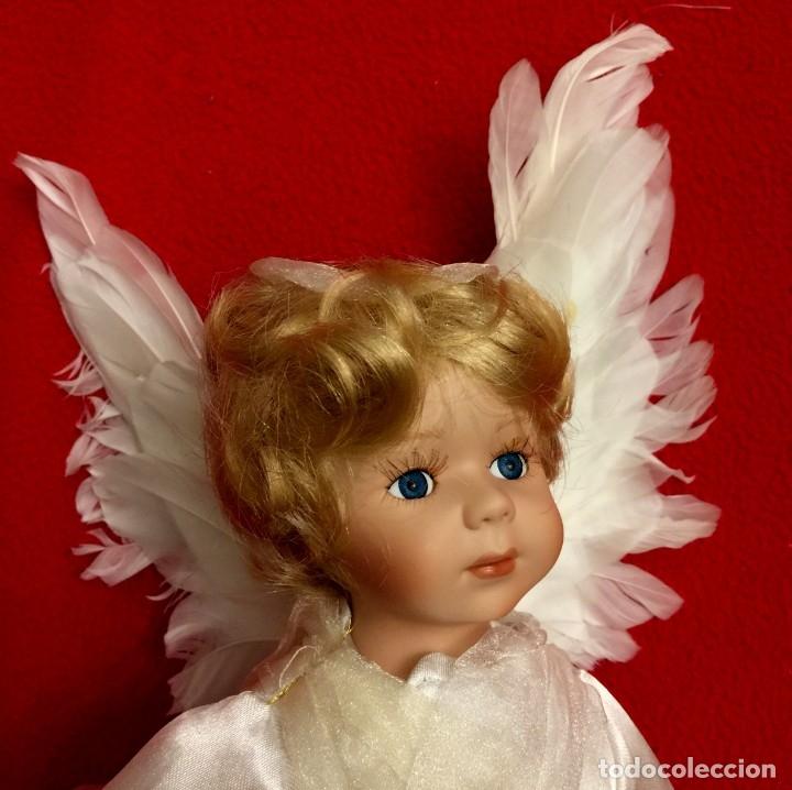 Muñecas Porcelana: ANGEL DE PORCELANA ALEMANA CON ALAS DE PLUMAS NATURALES. - Foto 10 - 182971890