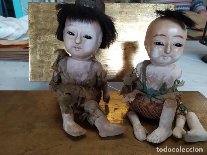 Muñecas Porcelana: Dos muñecos japoneses posiblemente del siglo XIX cabeza de pasta gofun orientales Japón - Foto 2 - 184570685
