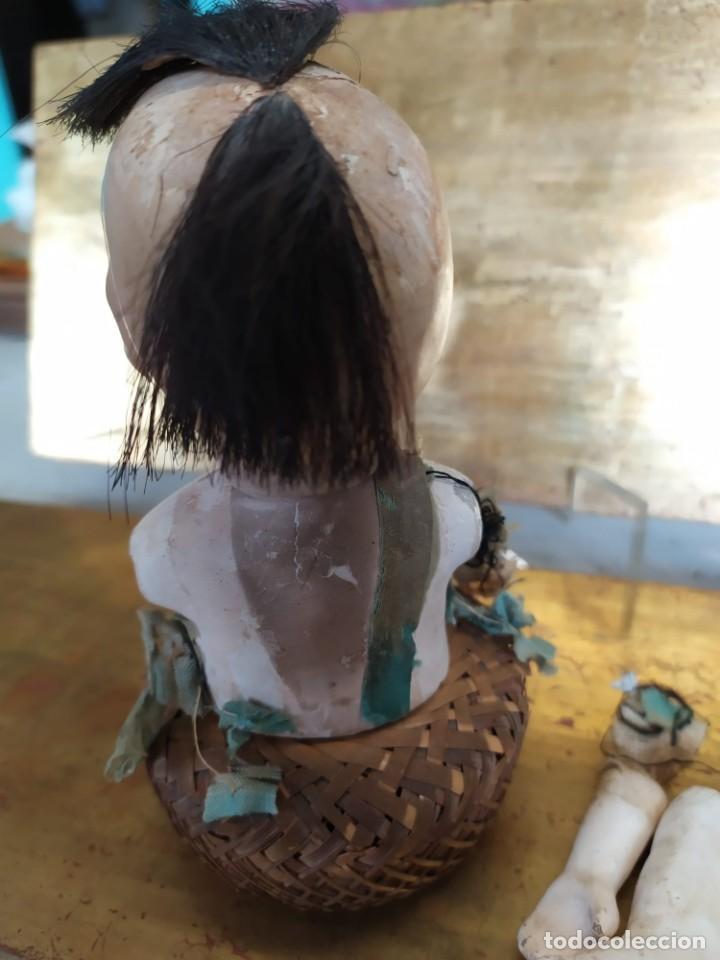 Muñecas Porcelana: Dos muñecos japoneses posiblemente del siglo XIX cabeza de pasta gofun orientales Japón - Foto 3 - 184570685