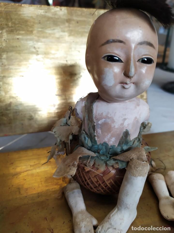 Muñecas Porcelana: Dos muñecos japoneses posiblemente del siglo XIX cabeza de pasta gofun orientales Japón - Foto 5 - 184570685