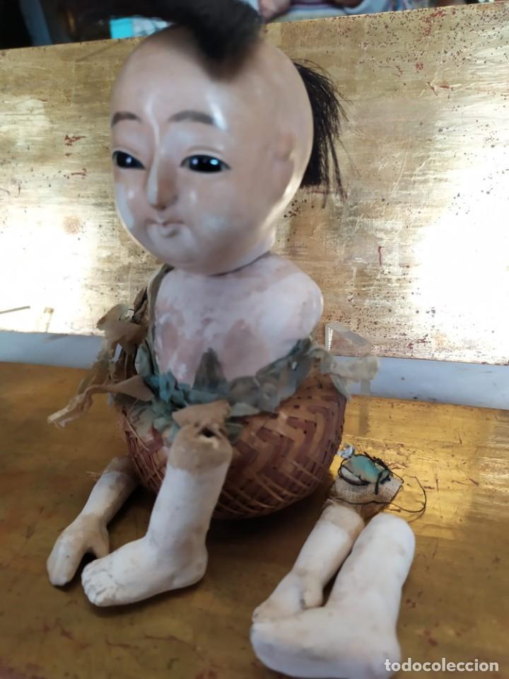 Muñecas Porcelana: Dos muñecos japoneses posiblemente del siglo XIX cabeza de pasta gofun orientales Japón - Foto 6 - 184570685